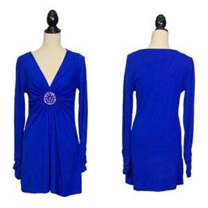 ECI New York Blue Embellished Sweater Dress Sz M